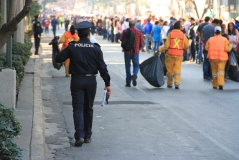 Keeping the streets clean for the Pope's arrival