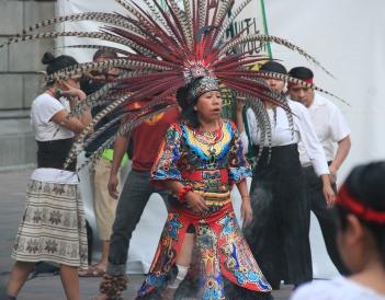 Dance and celebration near Bellas Artes