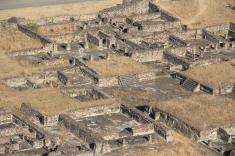 Looking down at ruins
