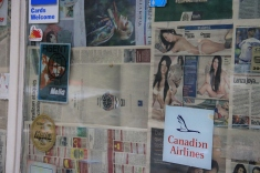 Newspaper'd up shop window