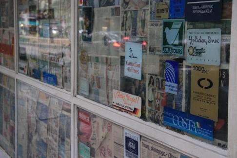 Newspaper'd up shop window